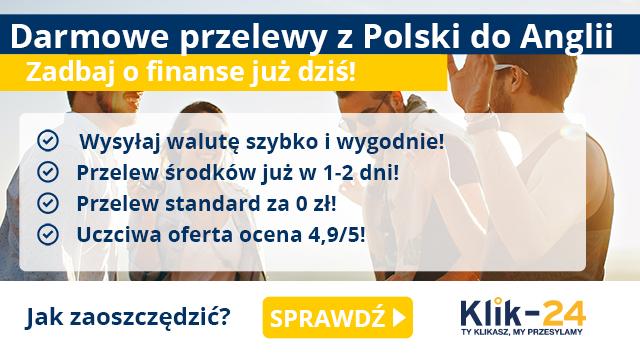 Darmowe przelewy z Polski do Anglii